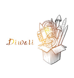 traditional diwali box with fireworks vector image