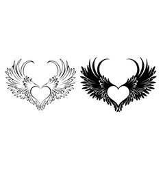Two angel hearts vector