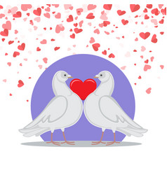 Valentine greeting card doves love heart symbols vector