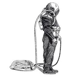 Vintage deep sea diver engraving vector