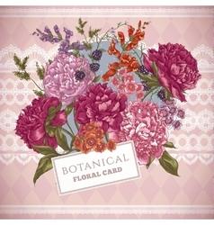 Vintage Greeting Card with Blooming Peonies vector