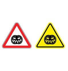 Warning sign attention Halloween Hazard yellow vector image