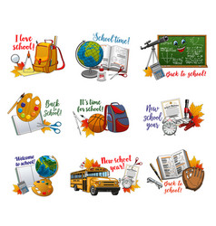 welcome to school logos educational stationery vector image