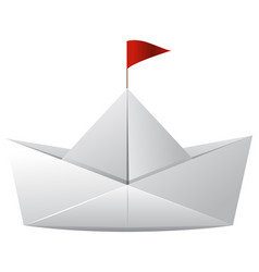 white paper boat with red flag vector image