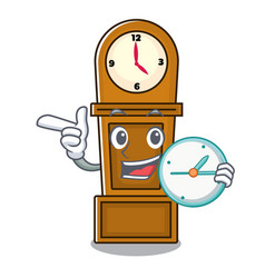 With clock grandfather clock character cartoon vector