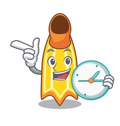 With clock swim fin character cartoon vector