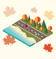 Woman cycling on countryside autumn sunny road or vector