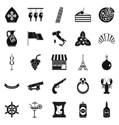 alcohol icons set simple style vector image