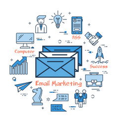 blue round email marketing concept vector image