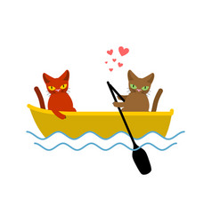 Cat lovers ride in boat lover of sailing pet vector