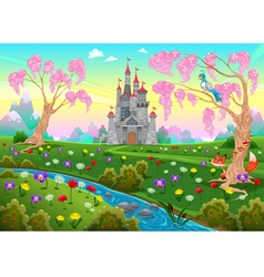 Fairytale scenery with castle vector image