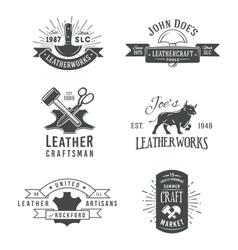 First set of grey vintage craft logo vector image vector image