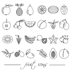 Fruit theme black simple outline icons set eps10 vector