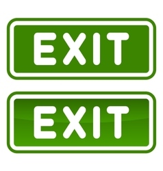 Green Emergency Exit Sign Set on White Background vector image vector image