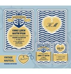Vintage nautical anchor wedding invitation vector