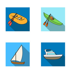 A rubber fishing boat a kayak with oars a vector