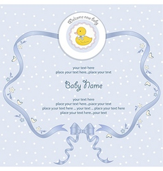 baby shower card with little duck vector image vector image