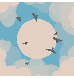 Birds flying in front of the sun vector image