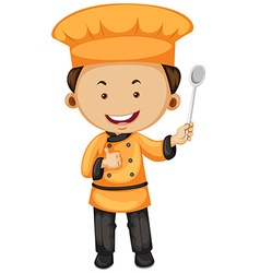 Chef in orange and black outfit vector image vector image