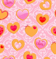 cute pink seamless Valentines Day pattern with vector image vector image