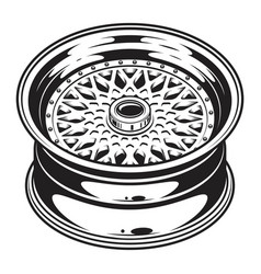 isolated monochrome of car wheel rim vector image