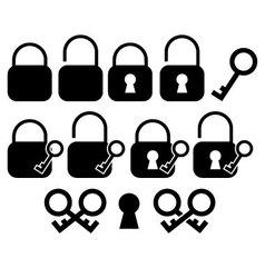 Minimalist Key and Lock Icons vector image