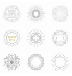 Set of vintage sunburst Geometric shapes and vector image