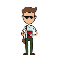 boy cartoon student character with sunglasses book vector image