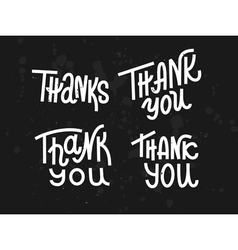 Collection of four custom pieces Thank you words vector image vector image