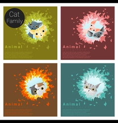 Cute animal family background with Cats 5 vector image vector image