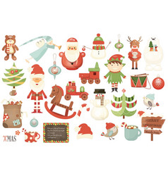 merry christmas characters and xmas elements vector image vector image
