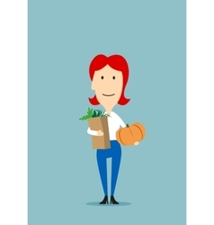 Woman with paper bag full of groceries vector image vector image