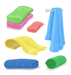 folded cotton towels set cartoon towel for bath vector image