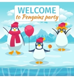 Funny penguins card or party invitation vector image vector image