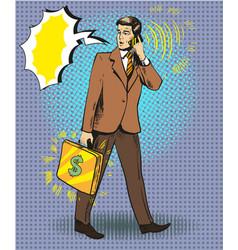 pop art of businessman talking vector image