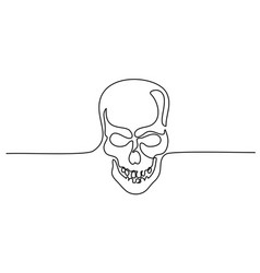 Abstract human skull continuous one line drawing vector