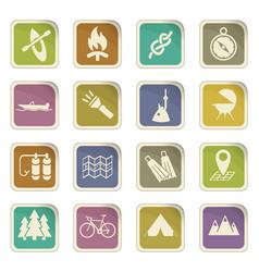 Active recreation icon set vector