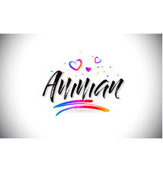 Amman welcome to word text with love hearts vector