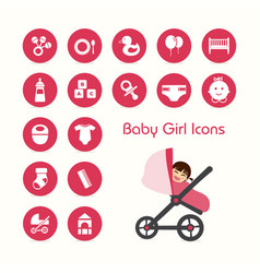 Baby girl on stroller icons set vector