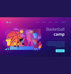 Basketball camp concept landing page vector
