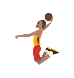 Basketball player athlete in uniform jumping with vector
