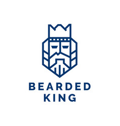 bearded king with a crown on his head vector image