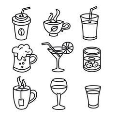 beverages icons set vector image