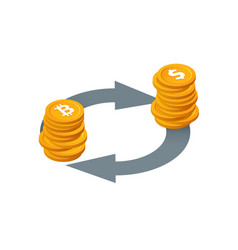 bitcoin to dollar currency exchange money vector image