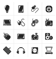 Black Electronic Devices objects icons vector