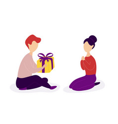 boyfriend giving romantic gift to girlfriend vector image