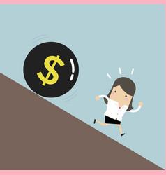 Businesswoman get away money ball down vector
