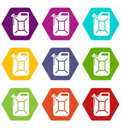 canister icons set 9 vector image
