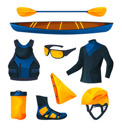canoeing or kayaking equipment sport tools set vector image