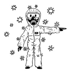 Cartoon man wearing protective suit and face vector